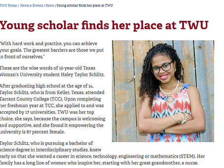Young scholar finds her place at TWU