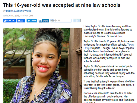 This 16-year-old was accepted at nine law schools