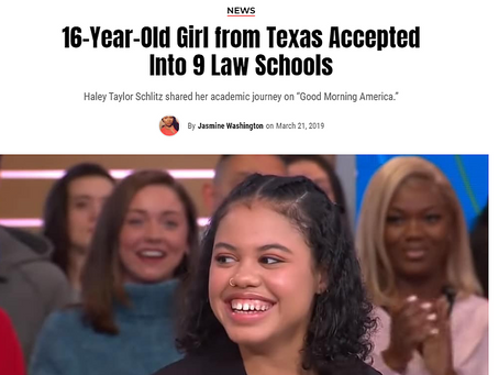 16-Year-Old Girl from Texas Accepted Into 9 Law Schools