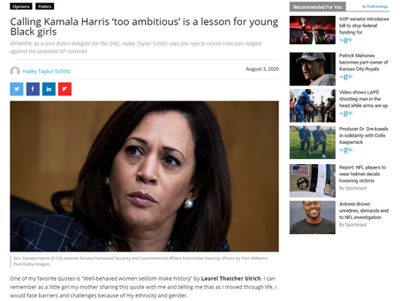 Calling Kamala Harris 'too ambitious' is a lesson for young Black girls