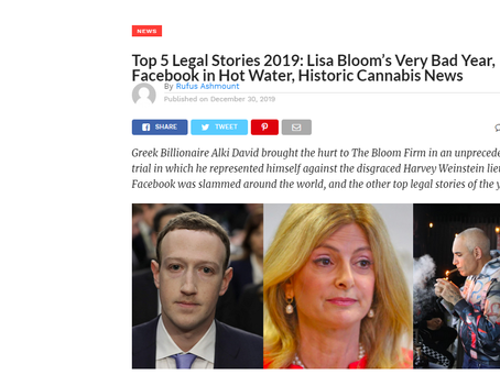 Top 5 Legal Stories 2019: Lisa Bloom's Very Bad Year, Facebook in Hot Water, Historic Cannabis News