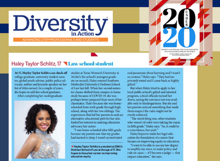 Diversity In Action Names Haley Taylor Schlitz As A 20 Under 20 Honoree.