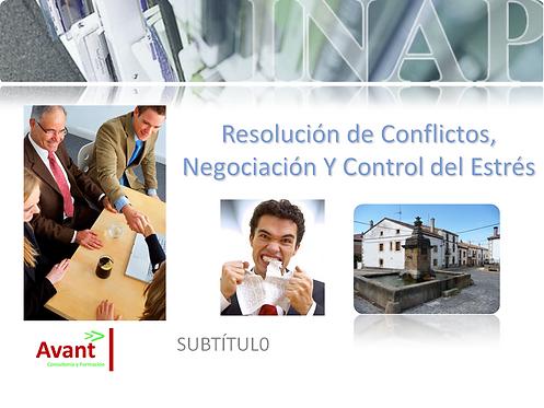 """portada en power Point del curso """"Resolución de conflictos, negociación y control del estrés"""""""