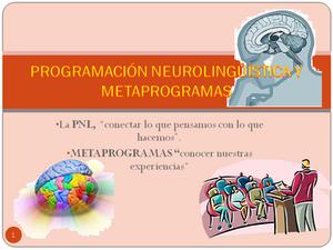 Programación Neurolingüística y Metaprogramas
