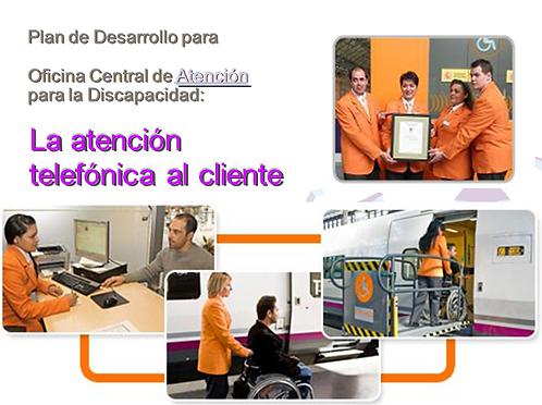"""portada en power point del Curso  """"ATENDO-RENFE atención telefónica al cliente"""""""