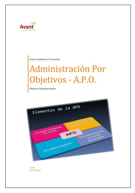 Imagen portada manual para la administración por objetivos - APO