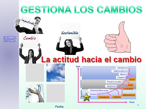"""portada en powerPoint del curso """"la actitud hacia el cambio"""""""
