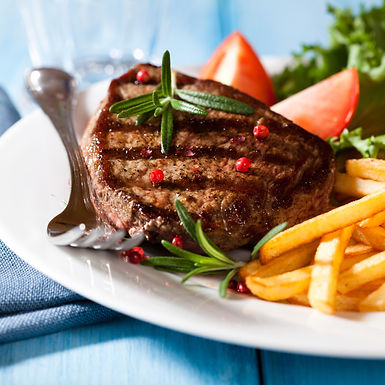 Grilled steak with vegetable salad and h