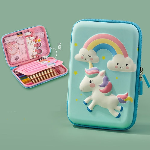 Likable Kids' Stuff_likable.com.au_Aqua Unicorn Hardcover Pencil Case