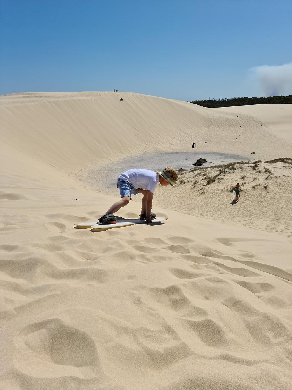 Likable Kids' Stuff | likable.com.au | Sandboarding in Port Stephens | Family fun holiday activities