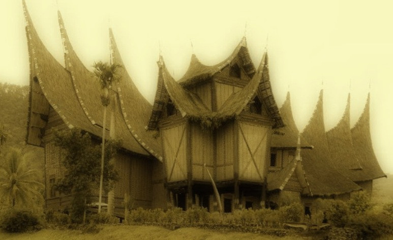 Rumah adat or traditional house in Sumatra