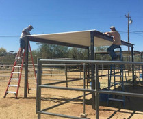 Installing shade for the horses