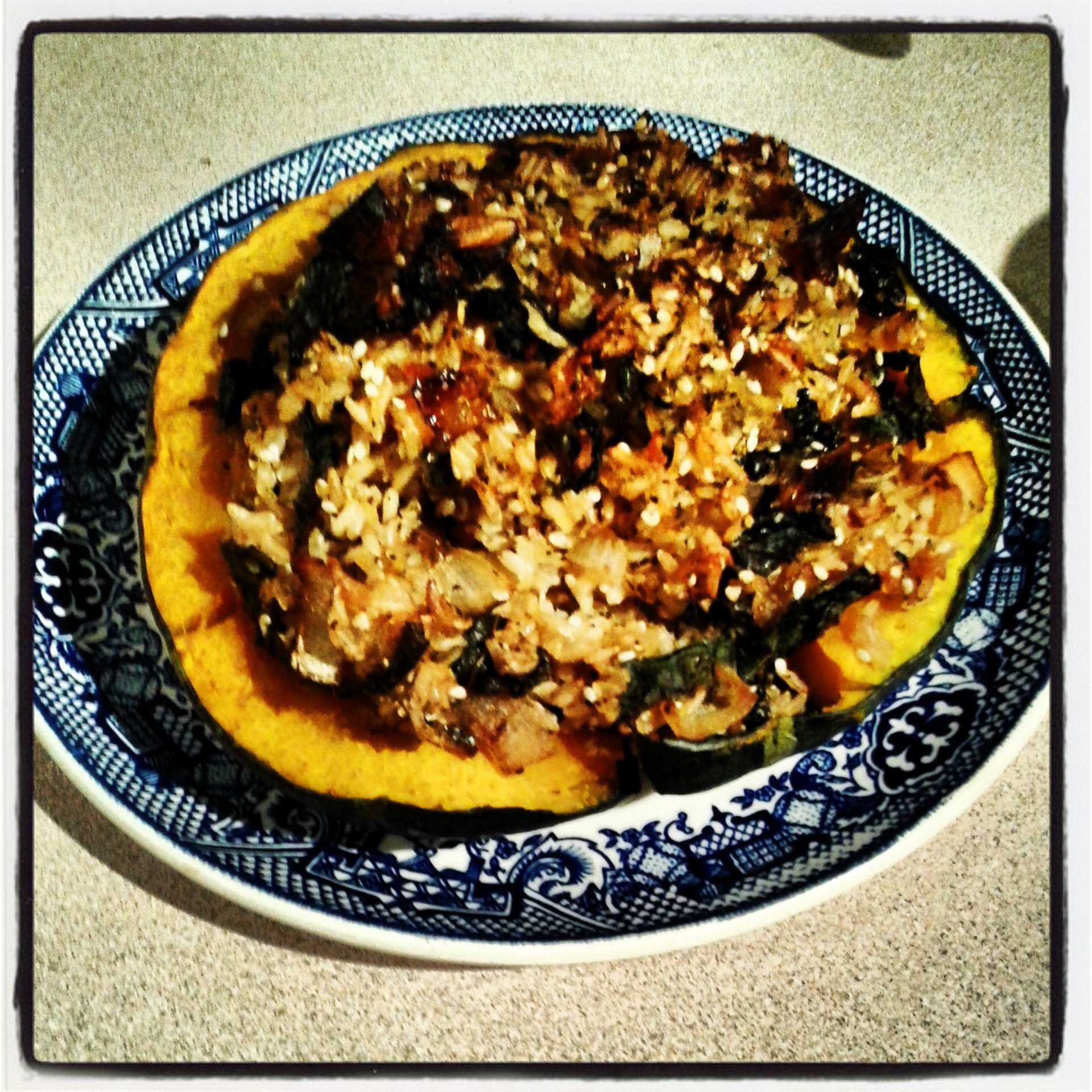 brown rice stuffed acorn squash