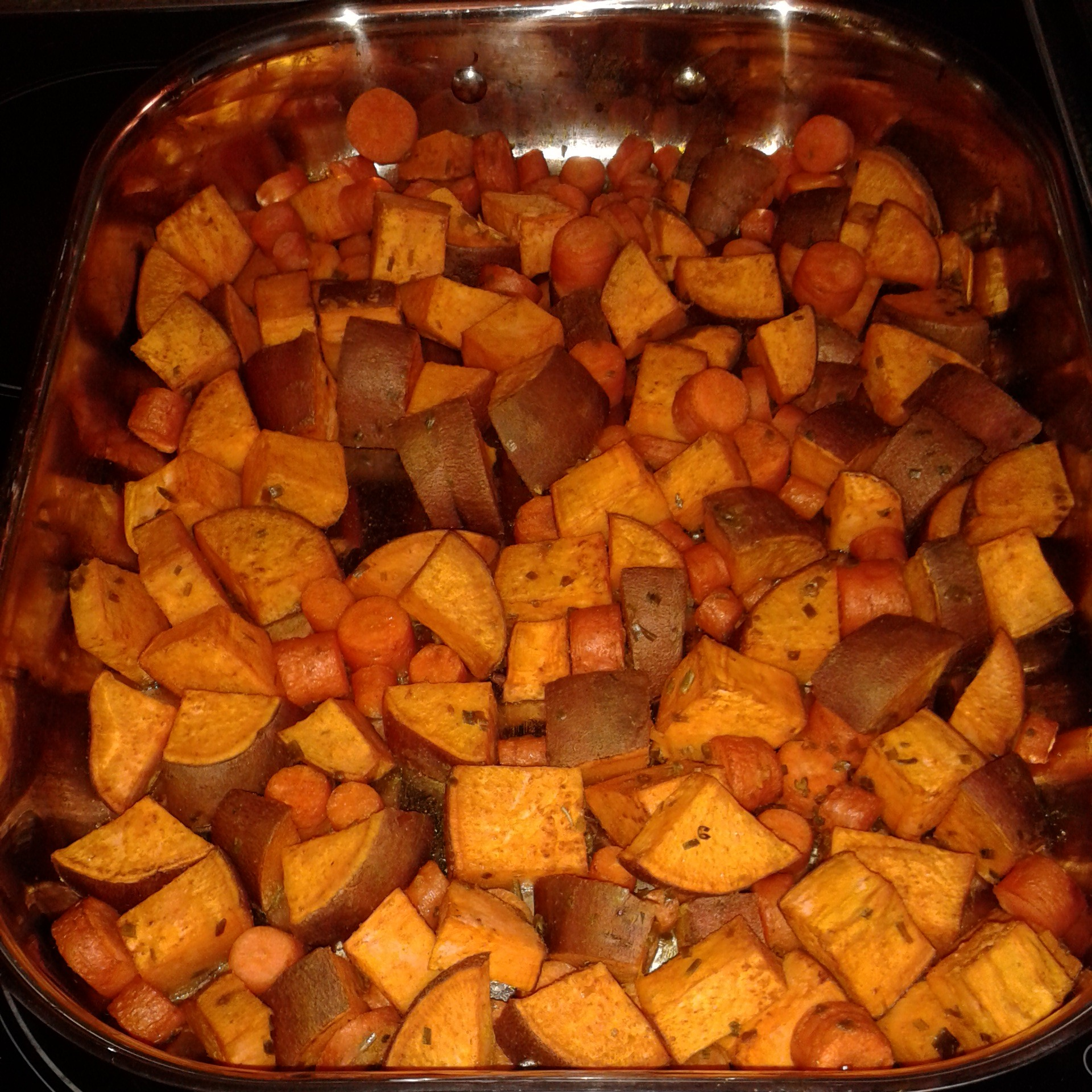 roasted sweet potatoes + carrots