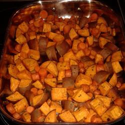 roasted sweet potatoes + carrots