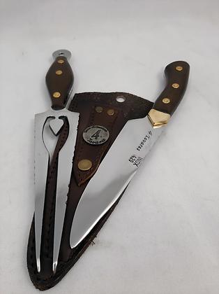 Conjunto de faca degustadeira + garfo espada aço inox 420c