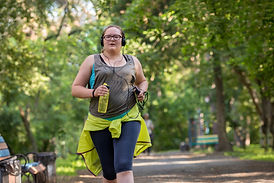 Overweight woman running. Weight loss co