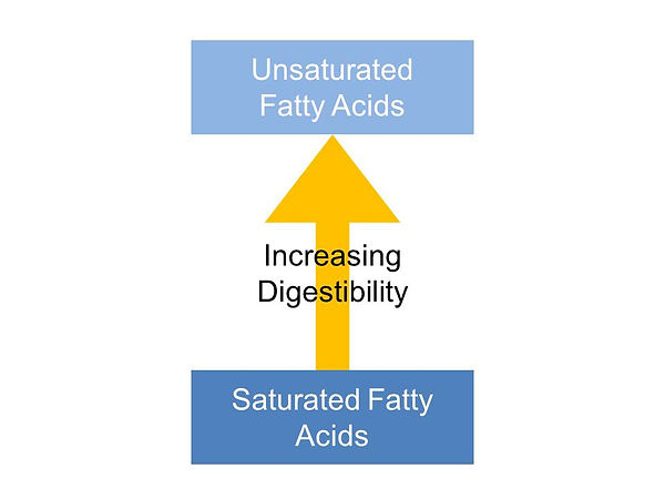 Fatty acid digestibility decreases as the fats get more saturated
