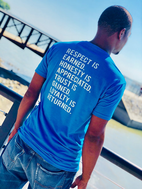 MEN'S RESPECT FITTED TEE... BLUE