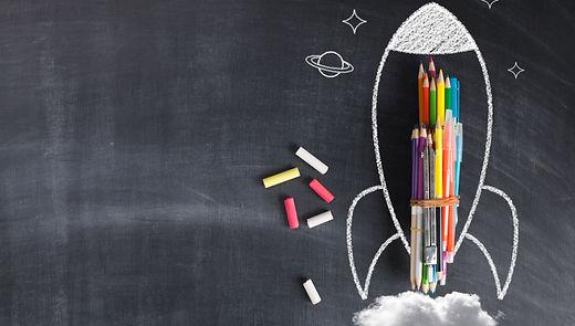 Back To School - Rocket Sketch On Blackb