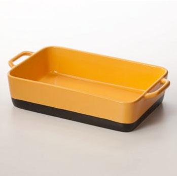 yellow stoneware casserole dish
