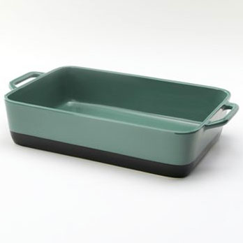 green stoneware casserole dish