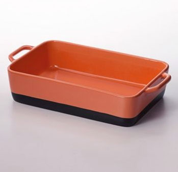 orange stoneware casserole dish