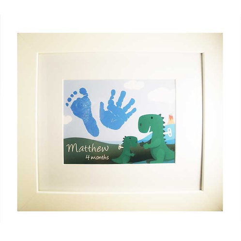 baby hand and footprint dinosaur nursery print