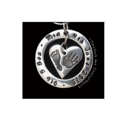silver memory pendant baby birthweight name keepsake