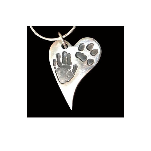 Silver curved heart hand and paw print keepsake Tinytoes and Stickyfingers
