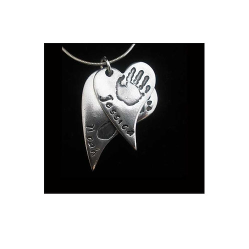 Silver Hand and Footprint curved heart keepsake descending pendant Basingstoke