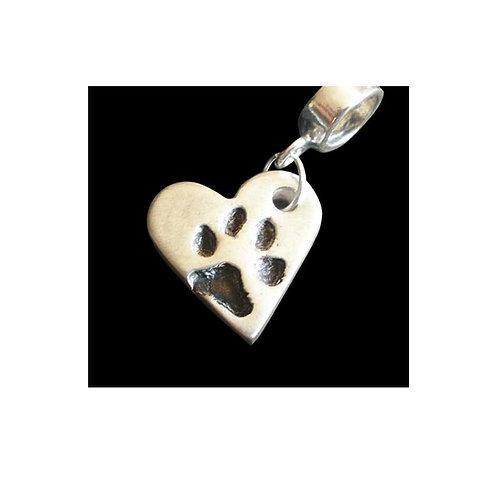 silver heart paw print keepsake bracelet charm basingstoke