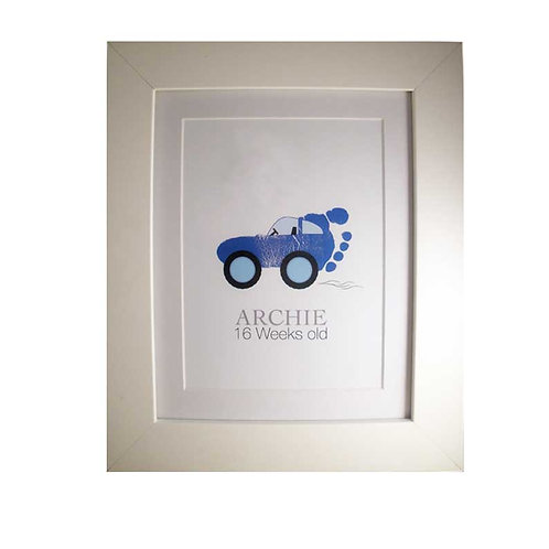 blue car footprint nursery picture decor