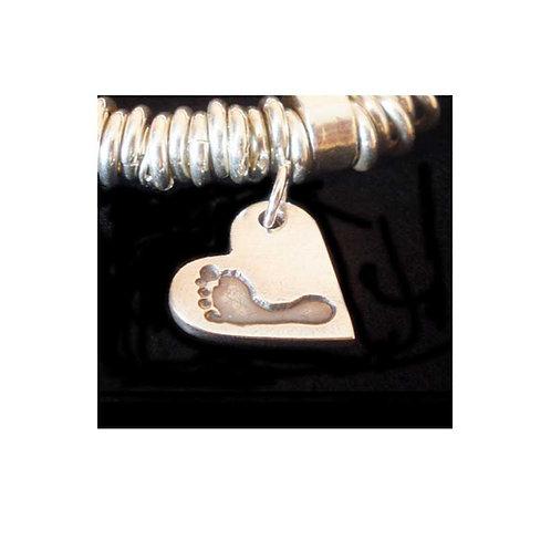 silver heart baby footprint keepsake bracelet charm