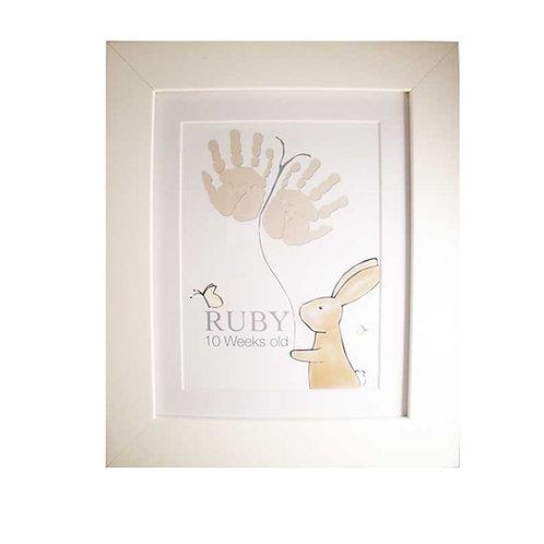 Bunny handprint nursery picture decor