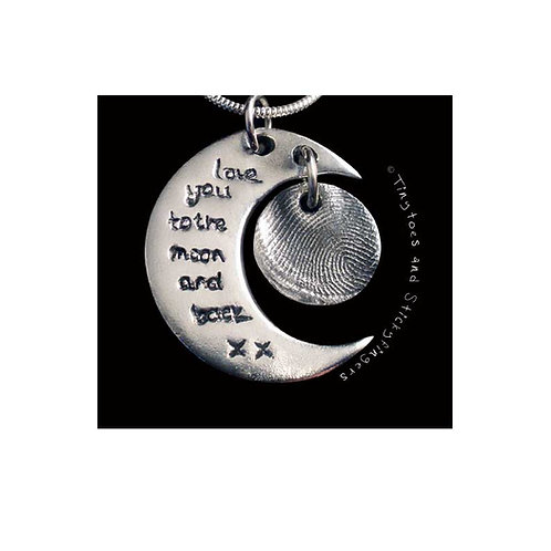 silver moon and back fingerprint pendant Tinytoes and Stickyfingers
