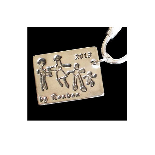 silver doodle drawing keepsake keyring perfect for dads