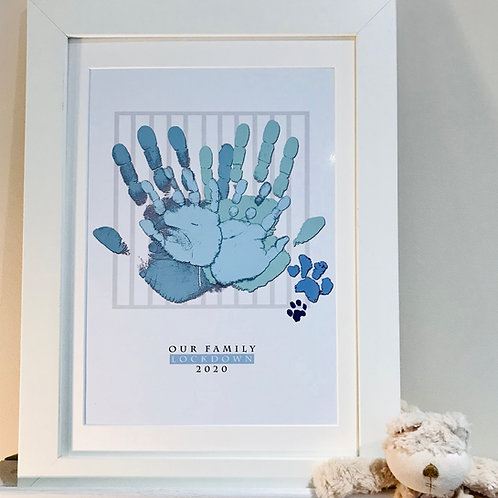 A3 Family Lockdown Print - Blue