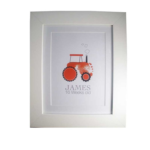 Red tractor footprint nursery picture decor
