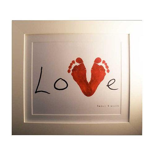 heart shape footprints nursery print