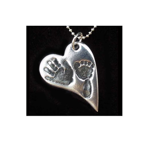 silver hand foot baby keepsake pendant hampshire curved heart