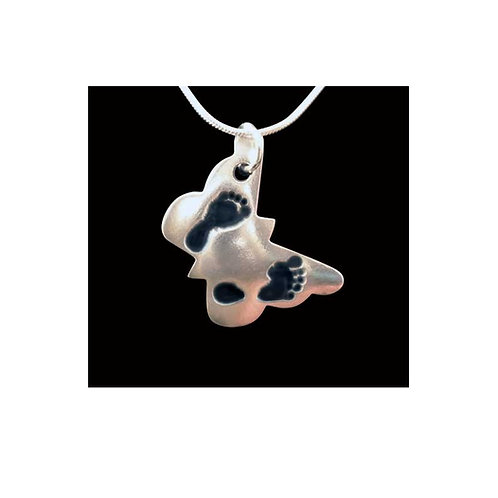 Butterfly silver keepsake pendant footprints tinytoes and stickyfingers