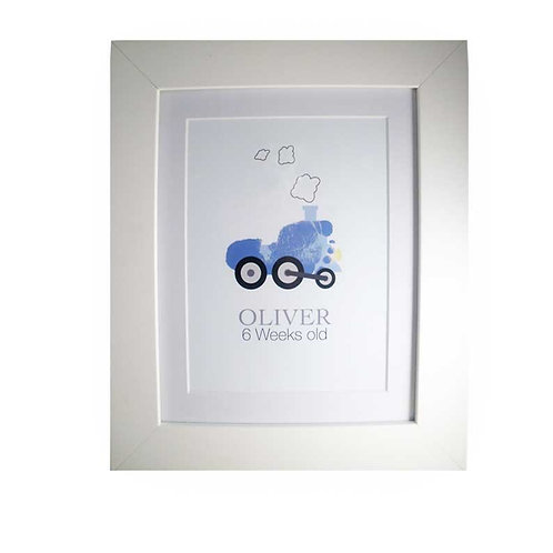 Blue train footprint nursery picture decor