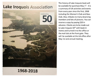 Lake Iroquois 50th Anniversary Books Available Starting May 1st