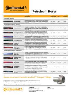 Continental Petroleum Hoses - Line Card