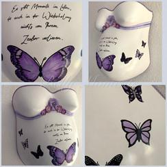 Gipsabdruck Babybauch Schmetterlinge