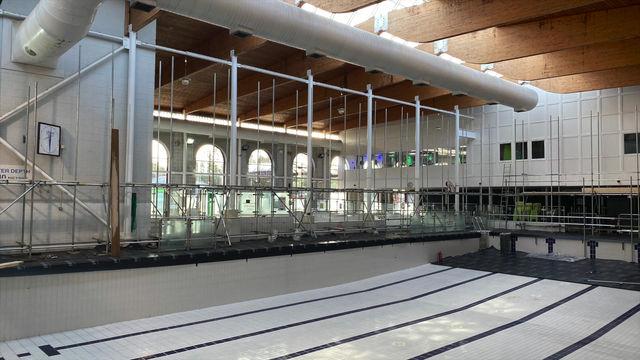 Internal Birdcage scaffolding , bridged over a swimming pool 2019-2020