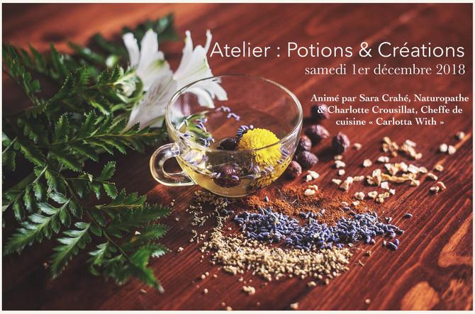 """Atelier """"Potions & Créations : l'infusion gourmande aux mille vertus"""", samedi 1er"""