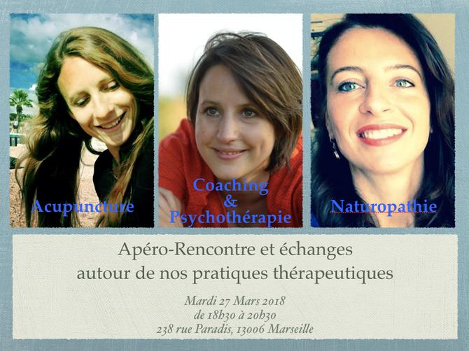 """""""Apéro Rencontre & Échanges autour de nos pratiques thérapeutiques"""", mardi 27 mars 201"""