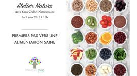 """Atelier """"Premiers Pas vers une Alimentation Saine"""",                            samedi 2 ju"""